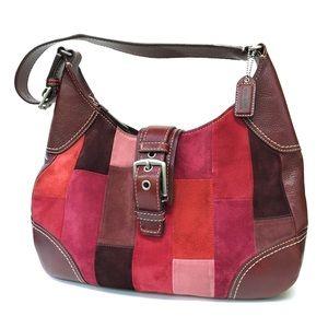 COACH Patchwork Suede Hobo Bag E0893-F11217 Berry